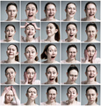 33Set of young woman's portraits with different emotions on gray background2 - PhotoDune Item for Sale
