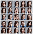 Set of young woman's portraits with different emotions - PhotoDune Item for Sale