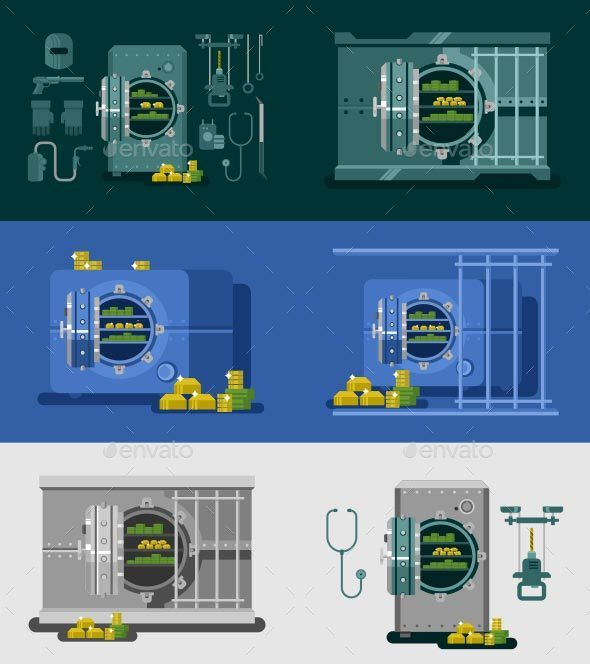 Bank Safe Flat Design - Man-made Objects Objects