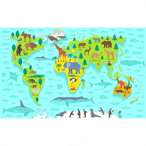 Cartoon World Map - Travel Conceptual