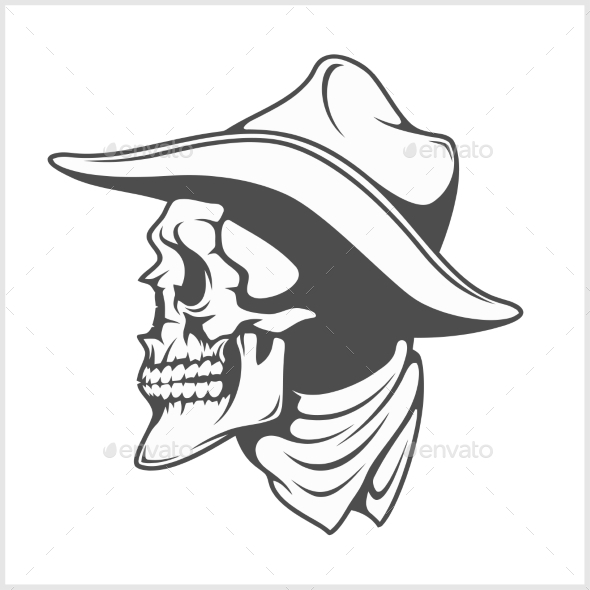 Skull in Cowboy Hat Gangster - Tattoos Vectors