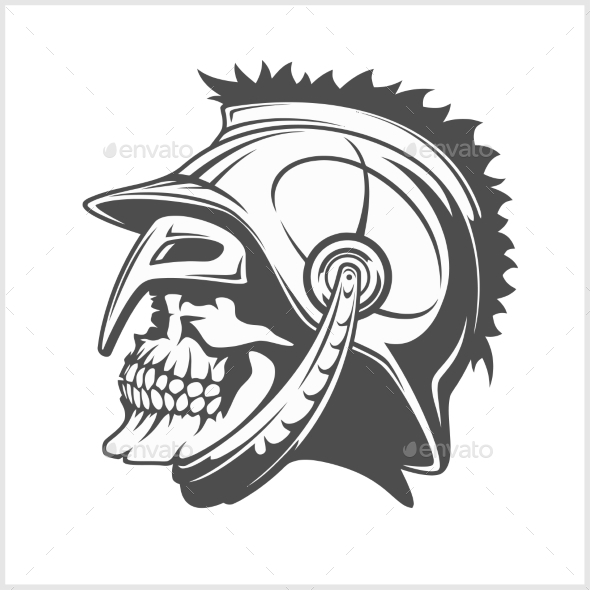 Skull Roman Legionary  Skull in Helmet - Tattoos Vectors