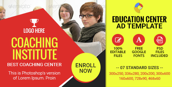 GWD | Education Institute HTML5 Ad Banners - 07 Sizes by themesloud