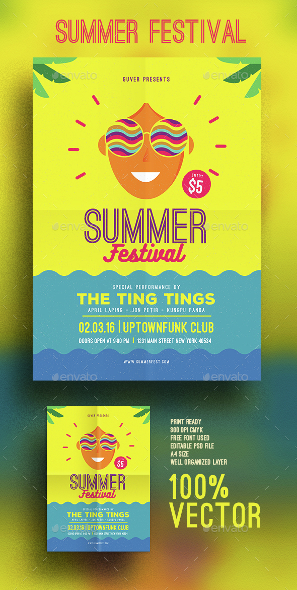 Summer festival flyer - Events Flyers