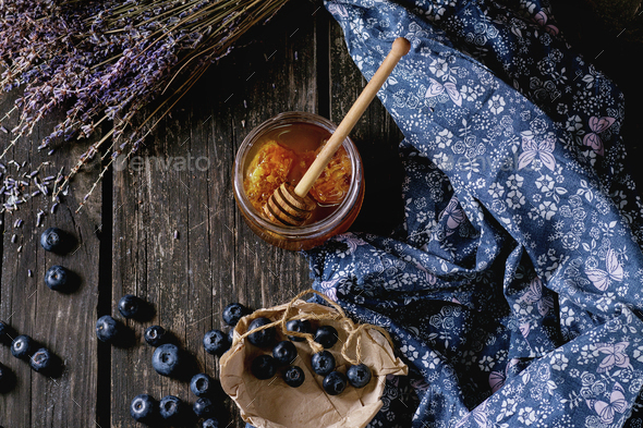 Honey, blueberries and lavender - Stock Photo - Images