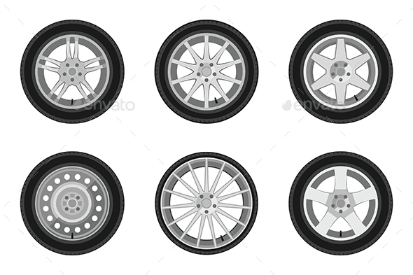 Wheels Icons Set - Man-made Objects Objects