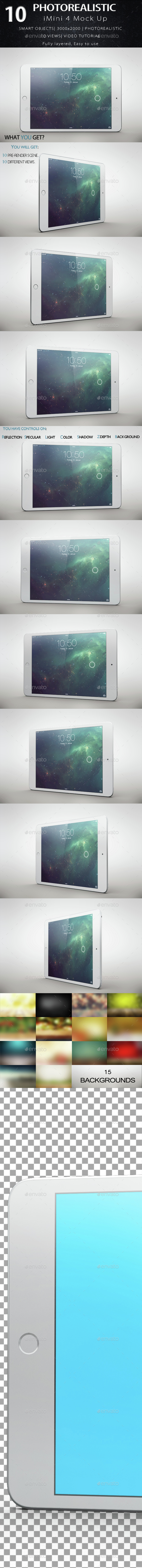 iMini 4 Tablet Mock Ups - Product Mock-Ups Graphics