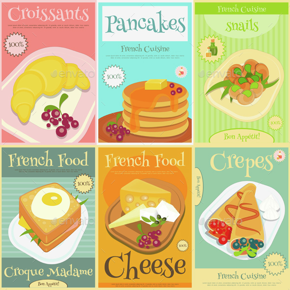 French Food Mini Posters Set - Food Objects