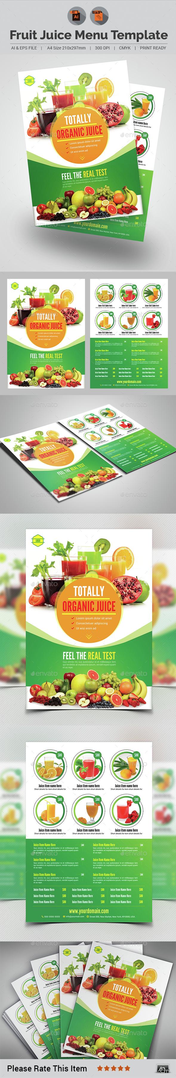 Fruit Juice Menu Template - Food Menus Print Templates