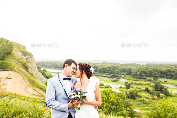 Bride and groom at wedding Day walking Outdoor - Stock Photo - Images