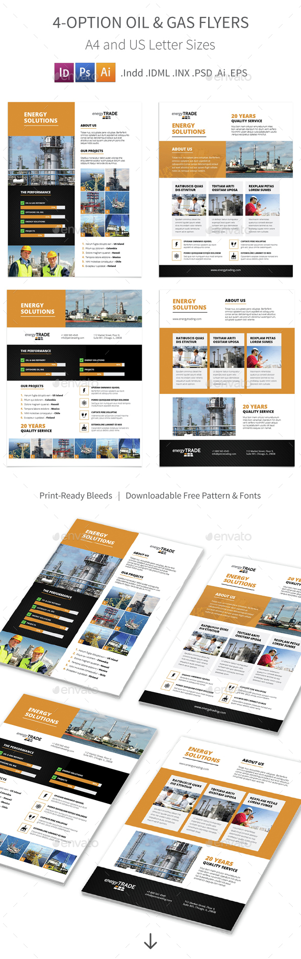 Oil & Gas Flyers – 4 Options - Corporate Flyers