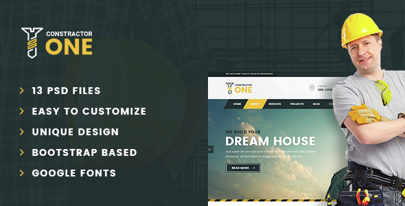 Constructor One – Construction PSD Template - Business Corporate
