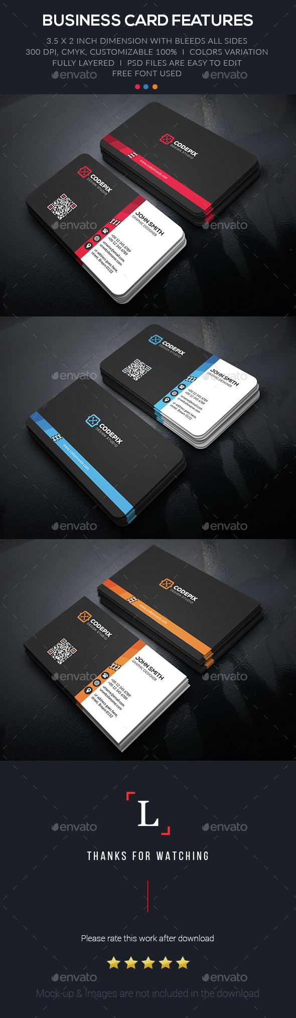 Color Link Business Card - Business Cards Print Templates