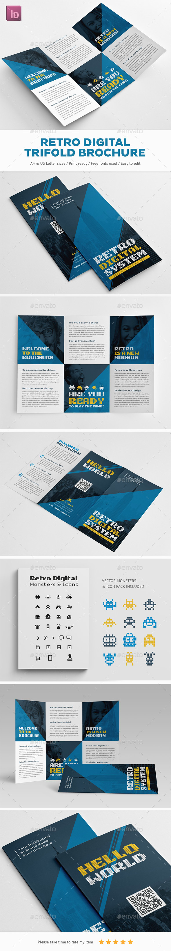 Retro Digital Trifold Brochure - Brochures Print Templates