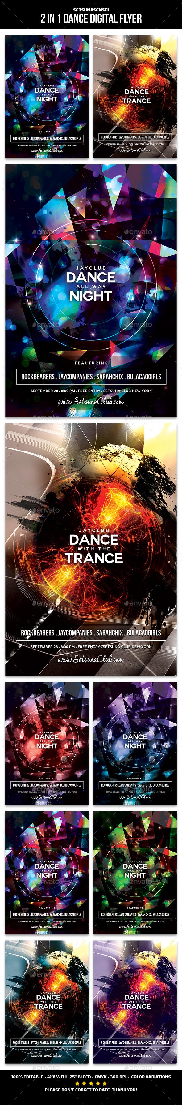 2 in 1 Dance Digital Flyer - Clubs & Parties Events
