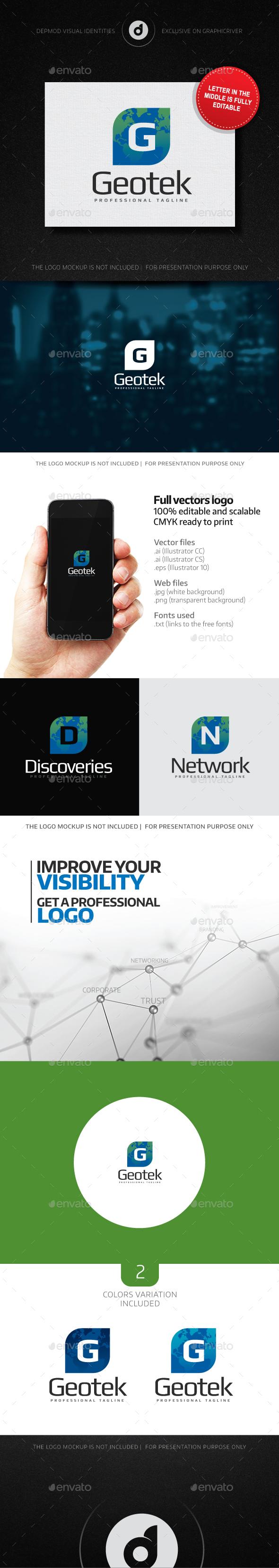 Geotek (Editable Letter) Logo - Letters Logo Templates