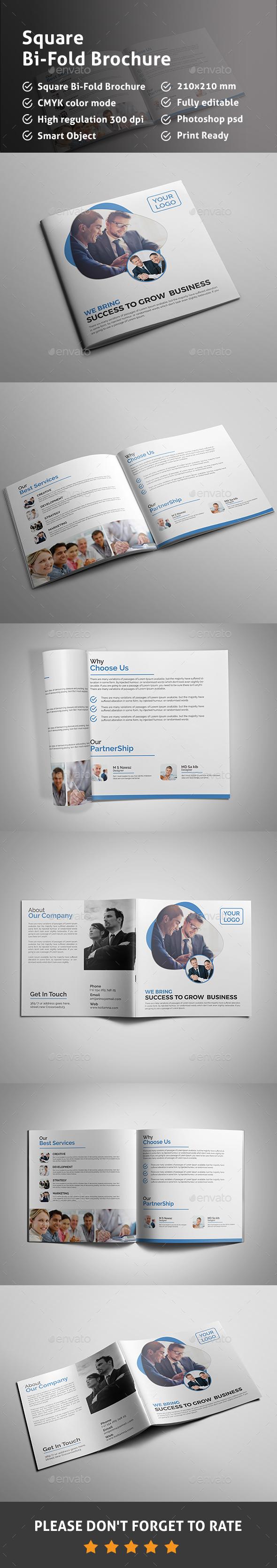 Square Bi Fold Brochure - Signage Print Templates