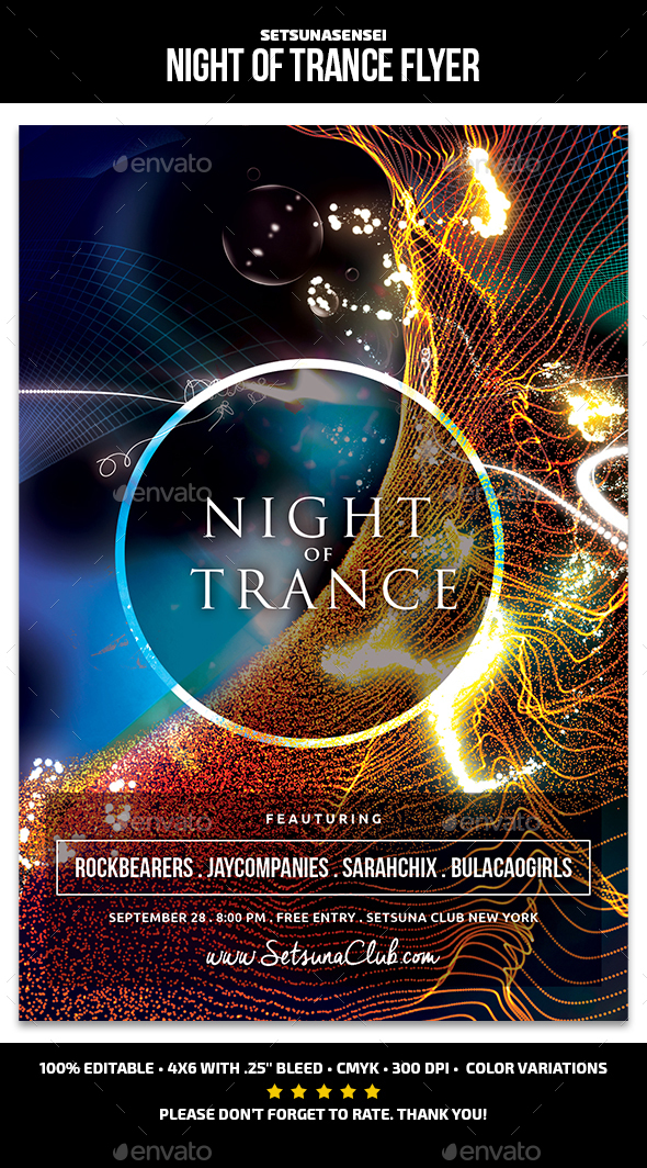 Night of Trance Flyer - Clubs & Parties Events