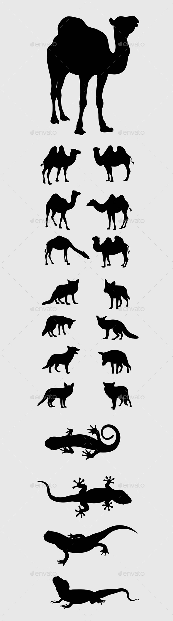 Camel, Fox and Lizard Silhouettes - Animals Characters