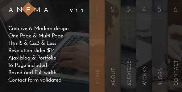 Anema - Creative OnePage & MultiPage Template by MosaicDesign