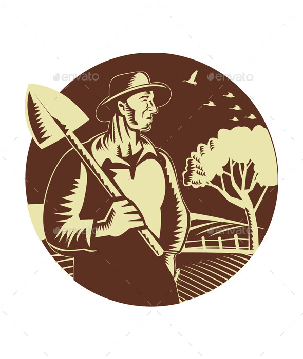 Organic Farmer Holding Shovel Farm Circle Woodcut - People Characters