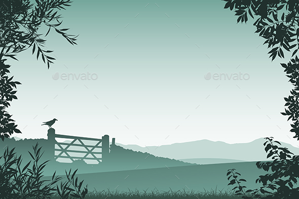 Landscape with Farm Gate - Landscapes Nature