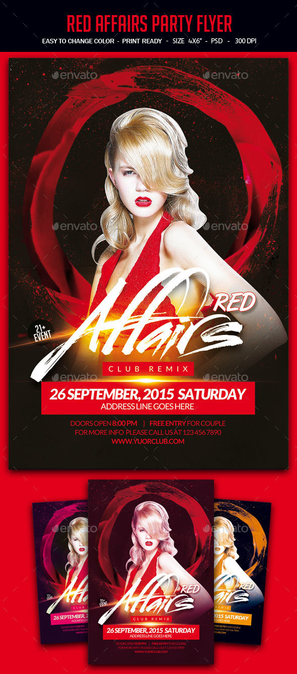 Red Affair Party Flyer - Clubs & Parties Events