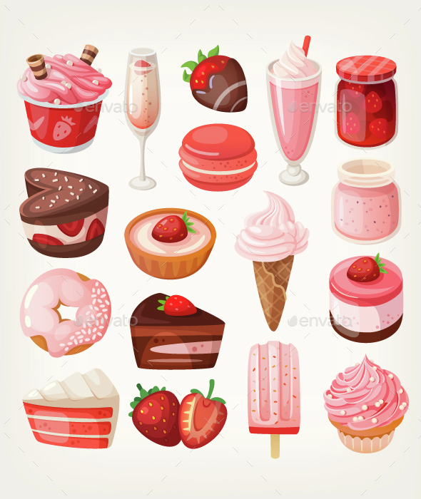 Strawberry Desserts - Food Objects