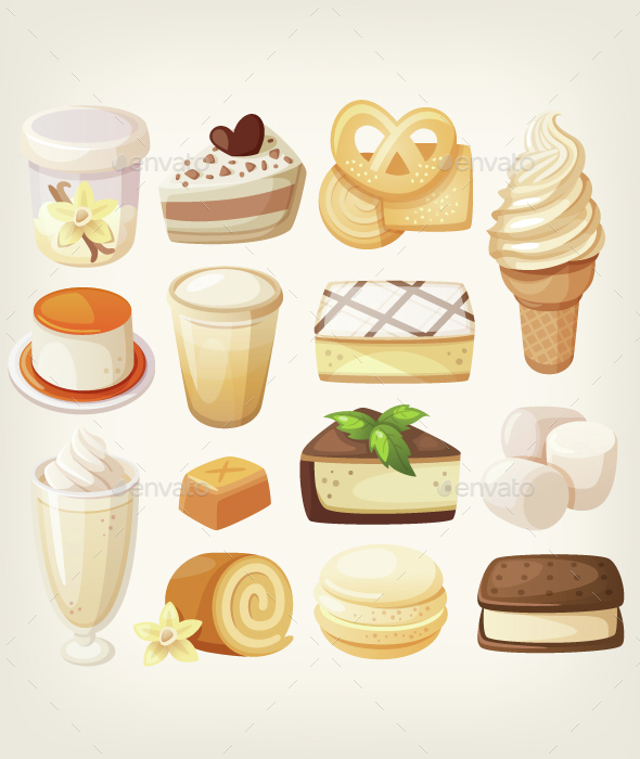 Vanilla Desserts - Food Objects