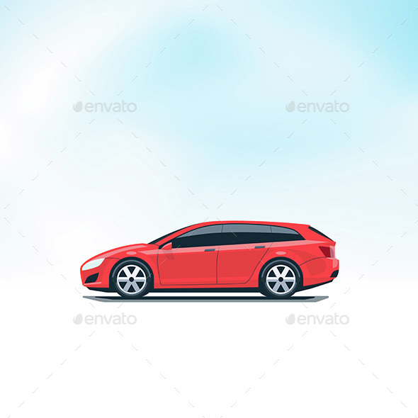 Isolated Red Car Station Wagon Side View - Man-made Objects Objects