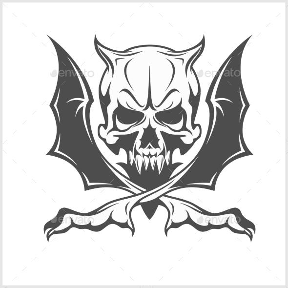 Demon Skull on White - Tattoos Vectors