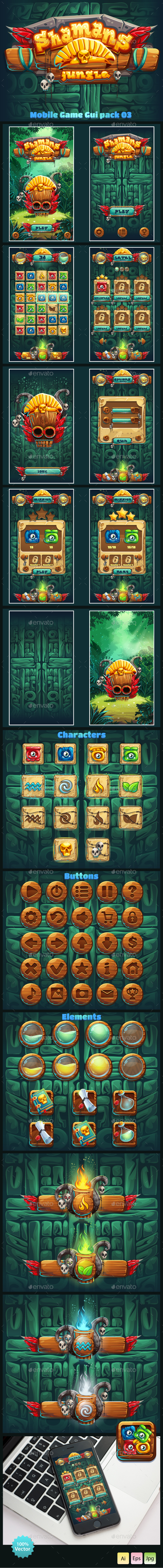 Jungle Shamans Mobile GUI - User Interfaces Game Assets