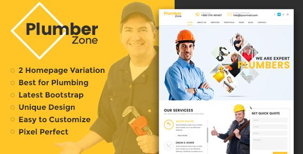 Plumber Zone - Plumbing, Repair & Construction HTML Template - Business Corporate