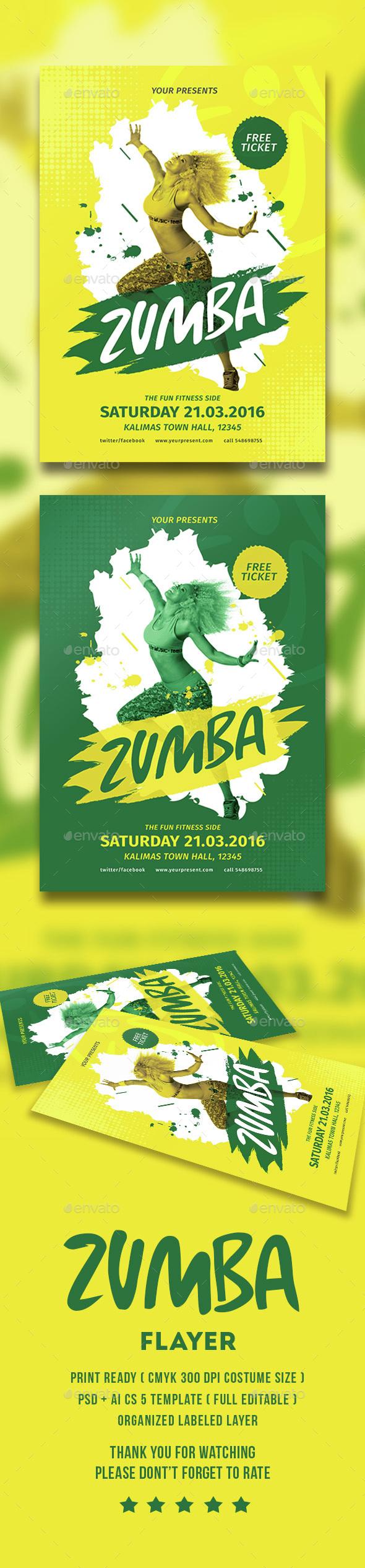 Zumba Party Flyer - Flyers Print Templates