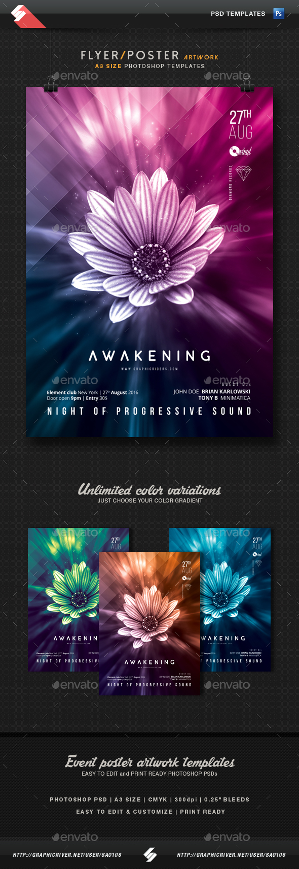 Awakening - Progressive Party Flyer / Poster Template A3 - Clubs & Parties Events