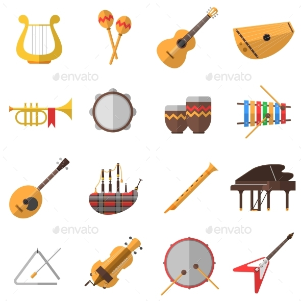 Musical Instruments Icons Set - Man-made objects Objects