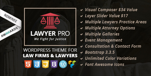 Lawyer Pro - Responsive WordPress Theme for Lawyers - Business Corporate