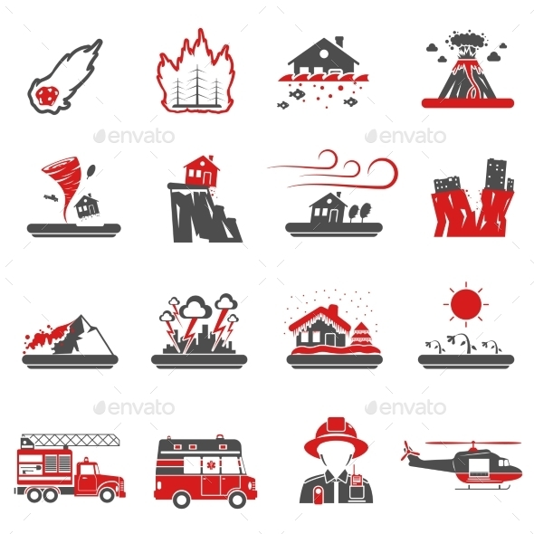 Natural Disaster Red Black Icons Collection   - Miscellaneous Icons