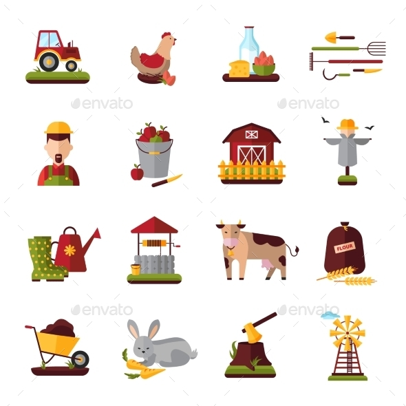 Peasant Farm Household Flat Icons Collection  - Miscellaneous Icons