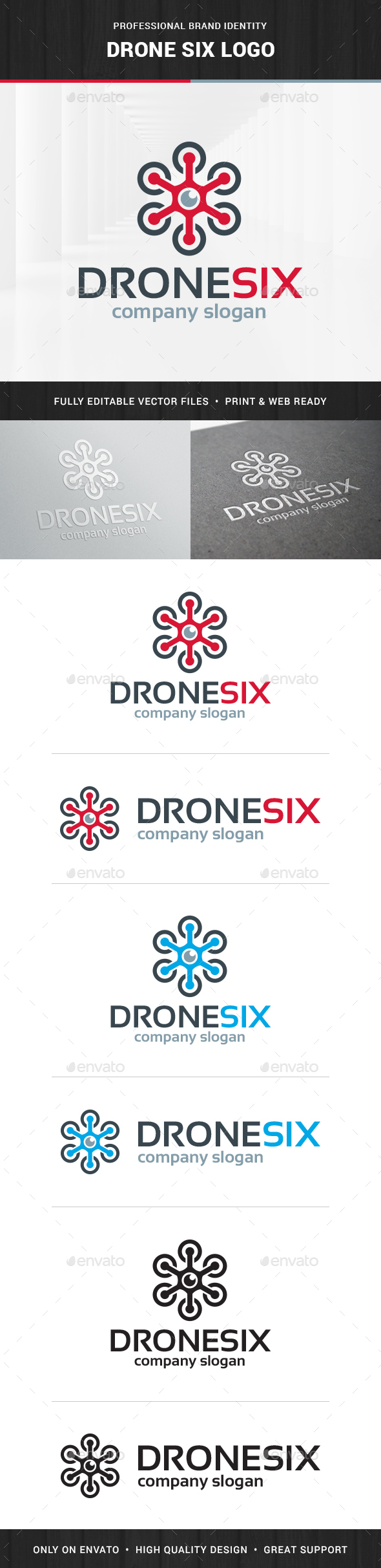 Drone Six Logo Template - Objects Logo Templates