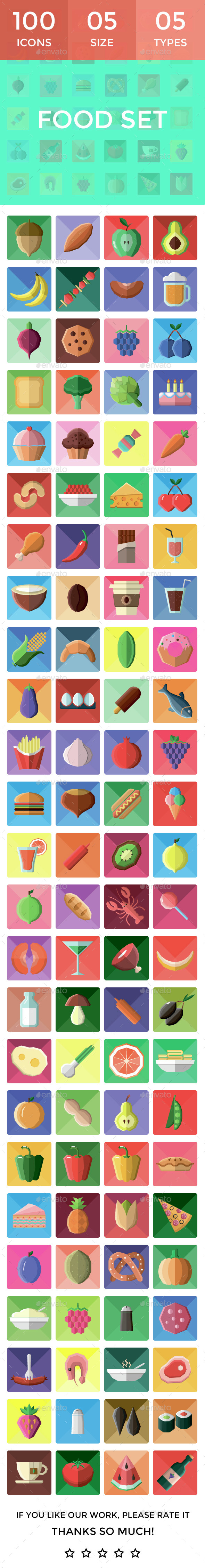 100 Food Icons - Food Objects