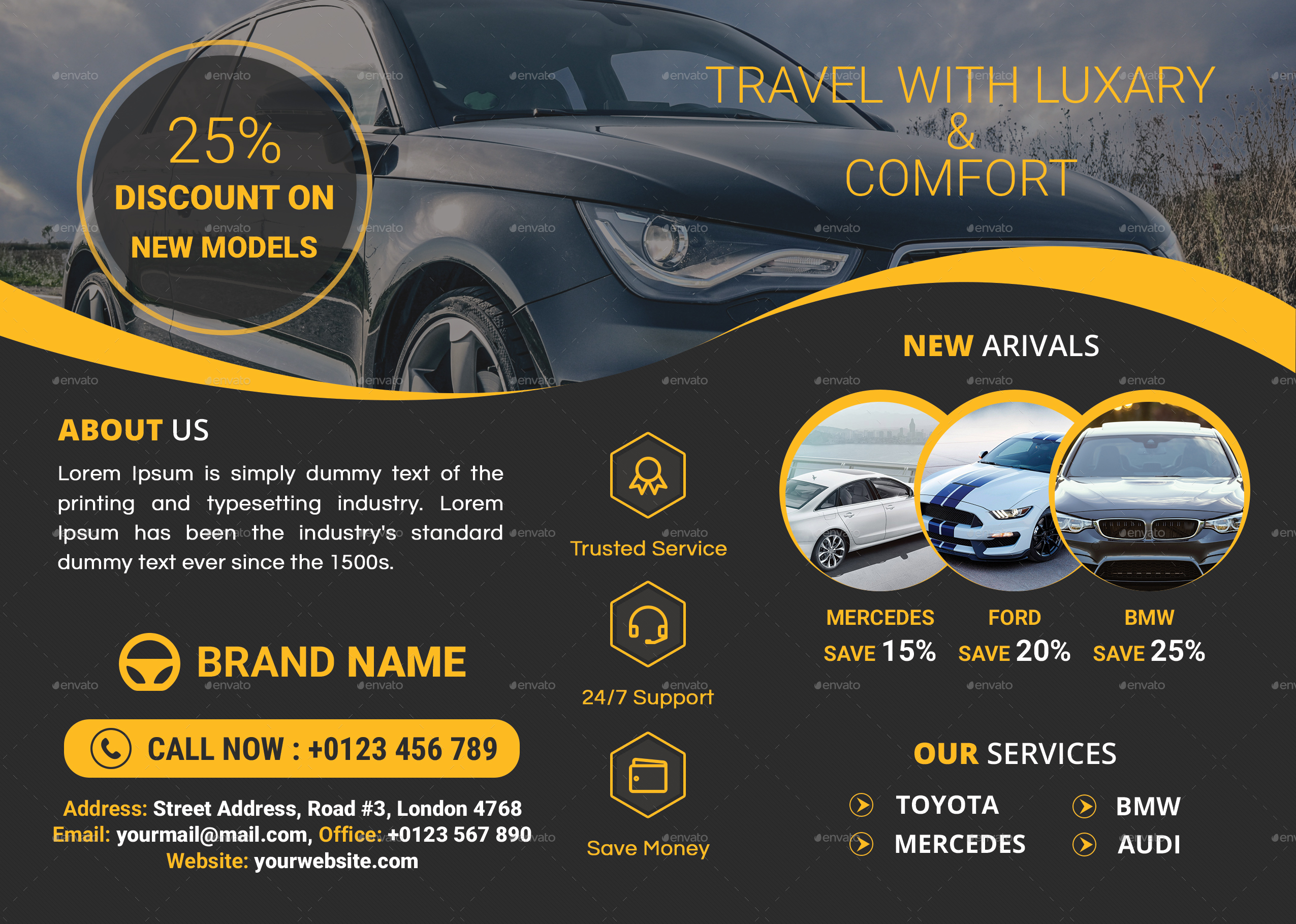 Car Service Flyer Template By Ris10 Graphicriver