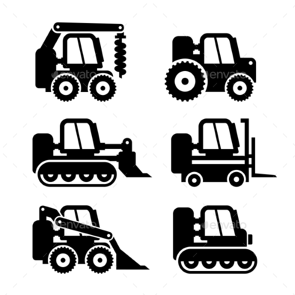 Bobcat Machine Icons Set - Buildings Objects