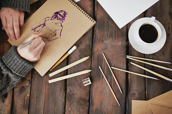 Drawing a picture - Stock Photo - Images