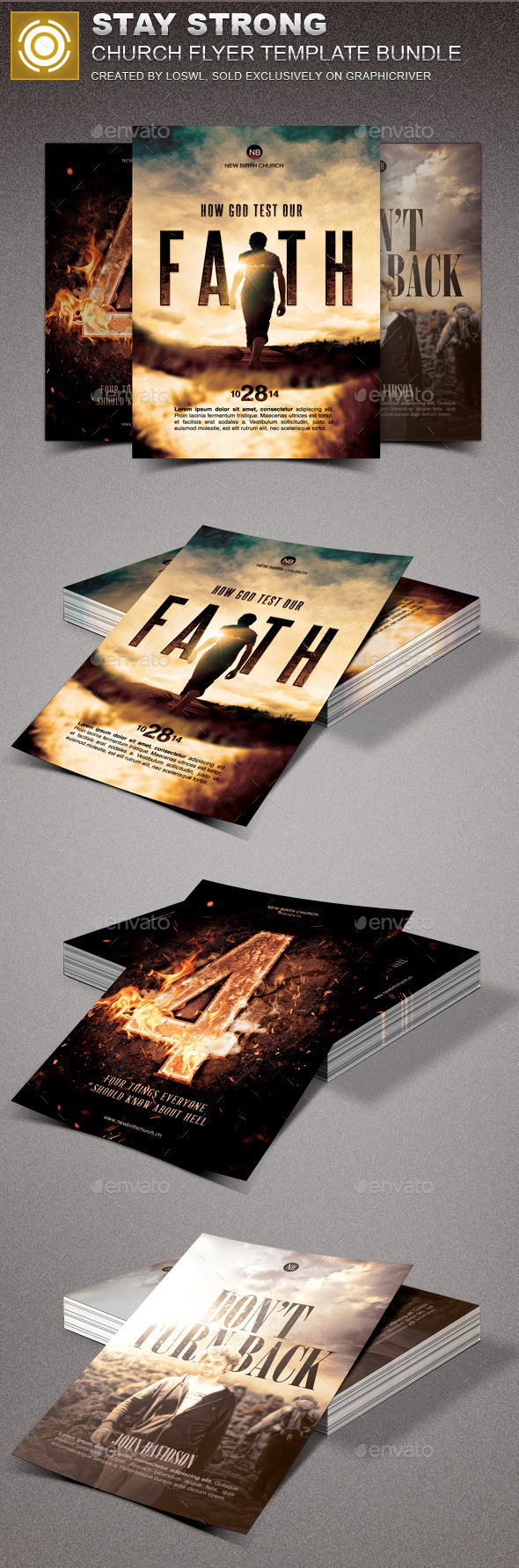 Stay Strong Church Marketing Flyer Bundle - Church Flyers