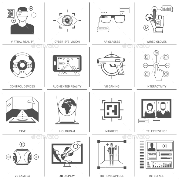 Black And White VR Icons - Abstract Icons
