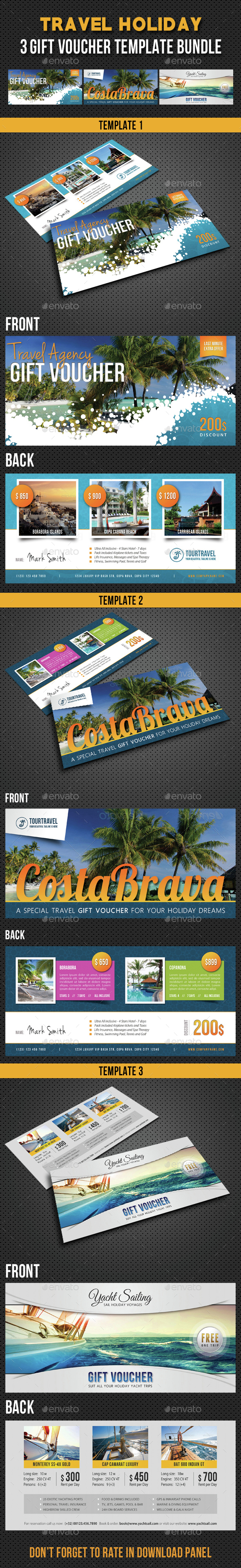 3 in 1 Travel Holiday Gift Voucher Bundle - Cards & Invites Print Templates