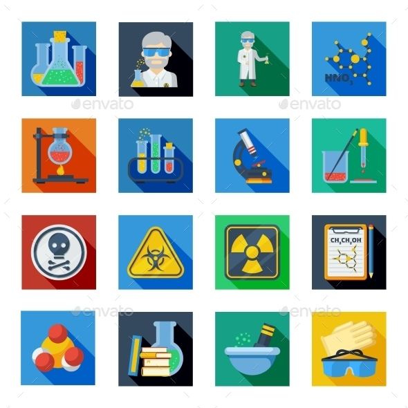 Chemistry Flat Icons Set In Colorful Squares  - Abstract Icons