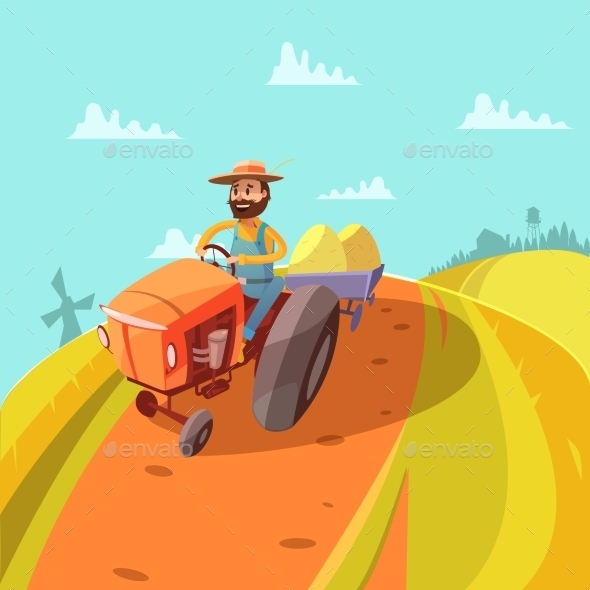 Farmer Cartoon Background  - Landscapes Nature