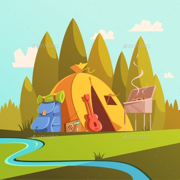 Hiking and Tent Illustration  - Travel Conceptual
